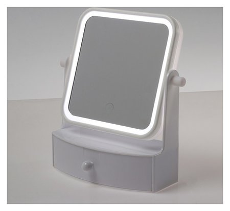 Зеркало с подсветкой настольное, квадратное, цвет белый  LuazON