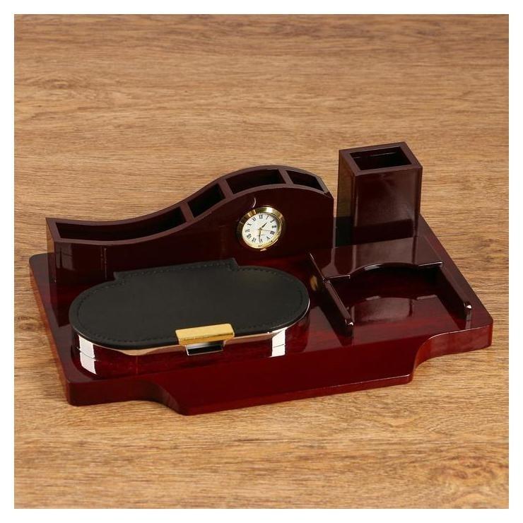 Набор настольный 5в1 Блок для бумаг, карандашница, визитница, органайзер с часами  NNB