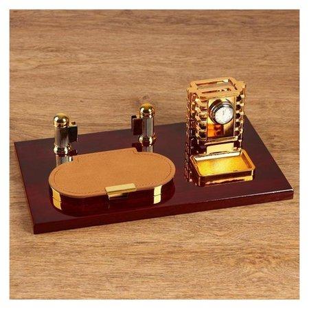 Набор настольный 4в1 Блок для бумаг, подаставка для печати, карандашница с часами, визитница NNB