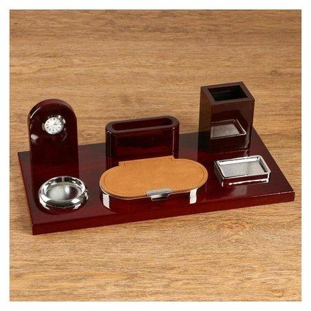 Набор настольный 6в1 Блок для бумаг, подст. для печати, карандашница, часы, визит-ца, скрепч  NNB