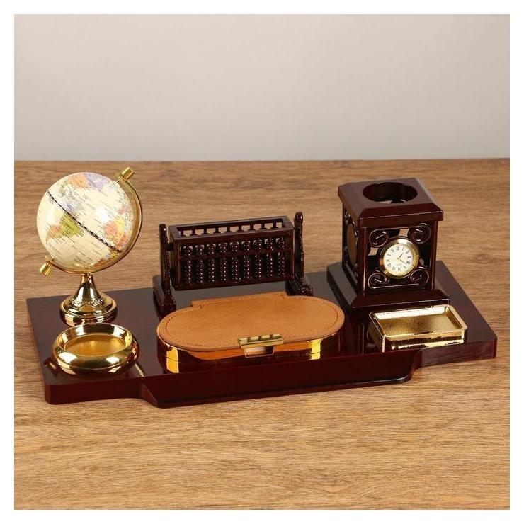 Набор настольный 6в1 Блок для бумаг, подаставка для печати, карандашница, часы, визитница, глобус  NNB