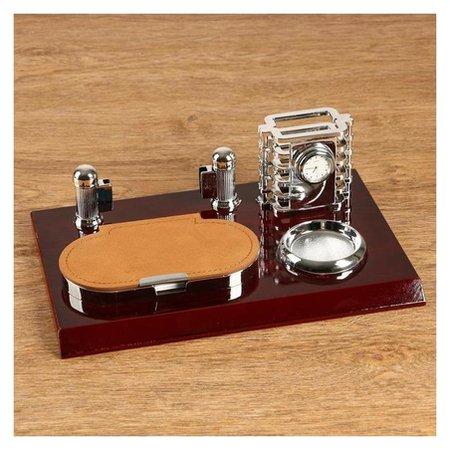 Набор настольный 4в1 Блок для бумаг, подаст. для печати, карандашница с часами, визитница NNB