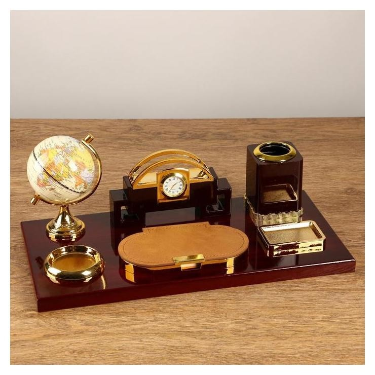 Набор настольный 6в1 Блок для бумаг, подаст. для печати, карандашница, часы, визитница,глобус  NNB