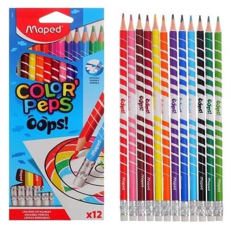Карандаши 12цв с ластиком Color'peps Oops пластиковые, в картонной коробке с подвесом  Maped