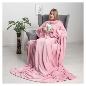 Плед с рукавами, цвет розовый, 150х200 см, рукав — 27х52 см, аэрософт Павлина