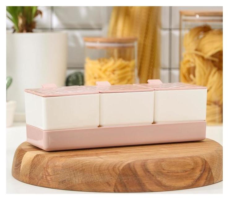 Набор банок для сыпучих продуктов на подставке «Кристалл», 3 шт, 24×10×7 см NNB