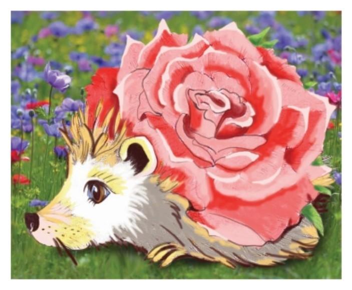 Алмазная картина Розовый еж 17 × 21 см КНР