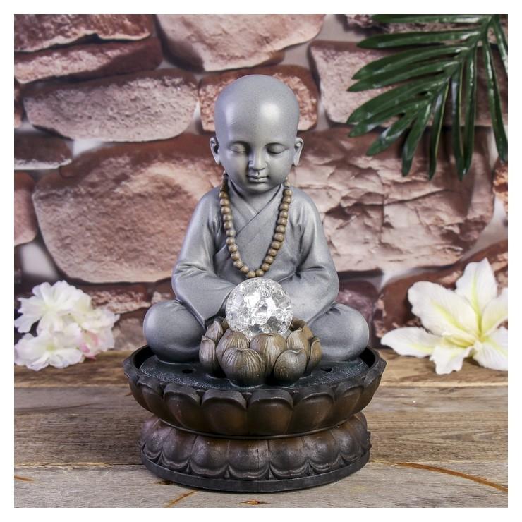 Фонтан настольный полистоун от сети свет Маленький будда - медитация 30х20х20 см NNB