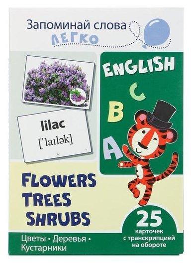 Обучающие карточки Цветы, деревья, кусты 25 карточек с транскрипцией на обороте Сфера