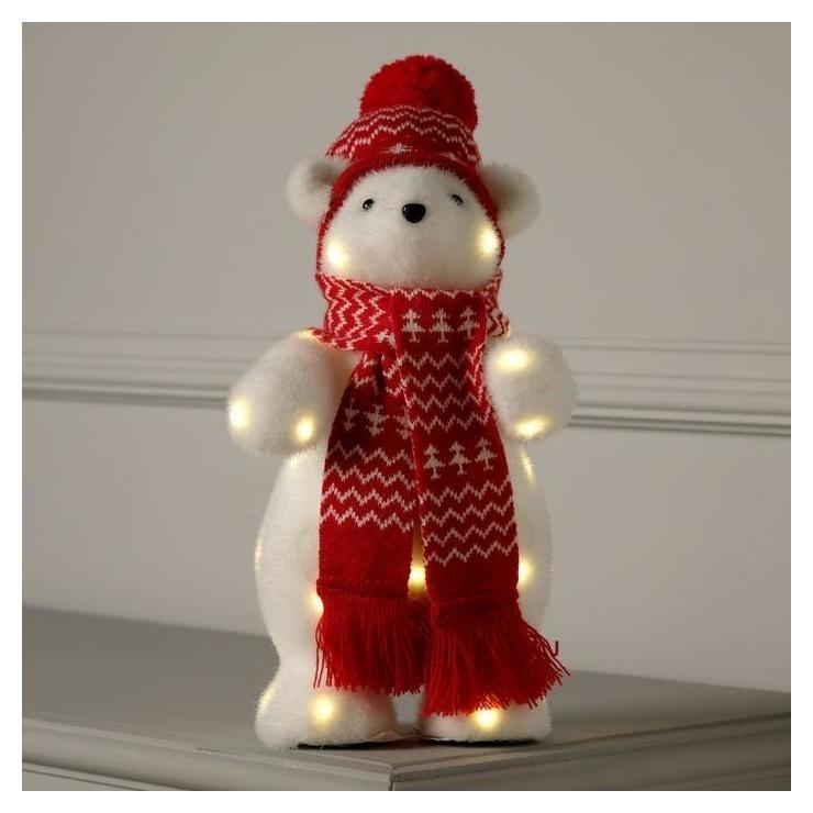 Фигура световая Медведь в красной шапке, 26 Led, 30х18х17 см, фиксинг, от батар., т/белый LuazON