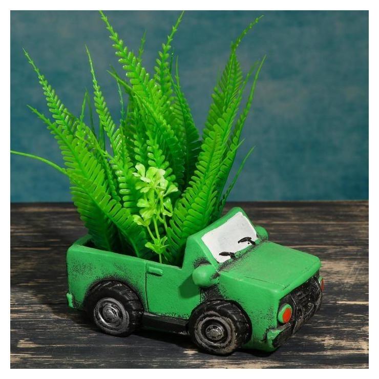 """Кашпо фигурное""""Машинка"""" зеленое, 14*6,5*7см  NNB"""