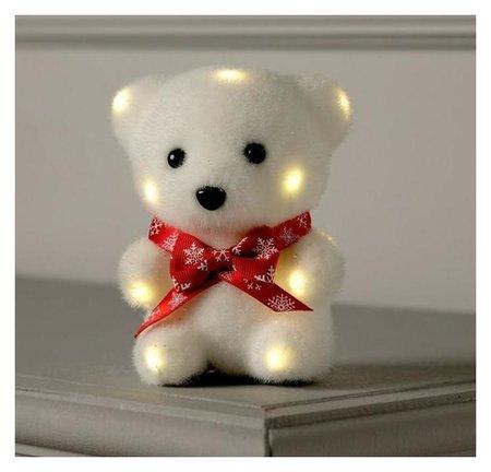 "Фигура световая ""Медведь в бабочке"", 13 Led, 12х9х8 см, фиксинг, от батар., т/белый  LuazON"