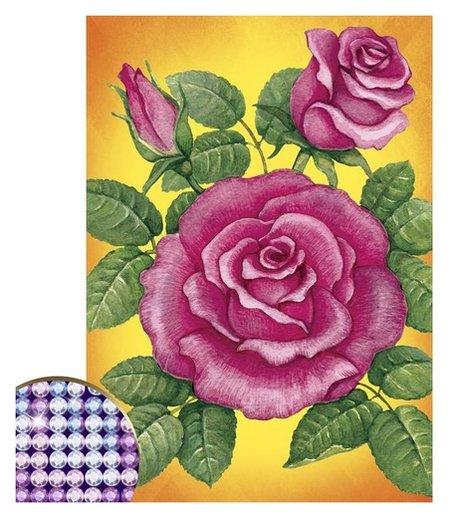 """Алмазная вышивка с частичным заполнением """"Розы"""", 15 х 21 см  Школа талантов"""