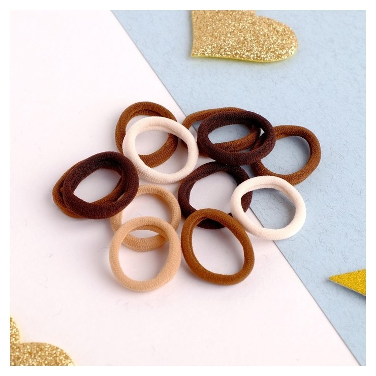Резинка для волос Махрушка спорт (Набор 100 шт) 2,5 см, коричневые тона NNB