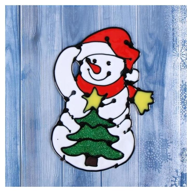 Наклейка на стекло Снеговик с нарядной ёлкой 10х15 см Зимнее волшебство