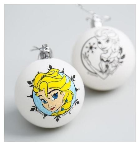 Новогоднее елочное украшение под раскраску холодное сердце, набор 2 шт, размер шара 5,5 см Disney