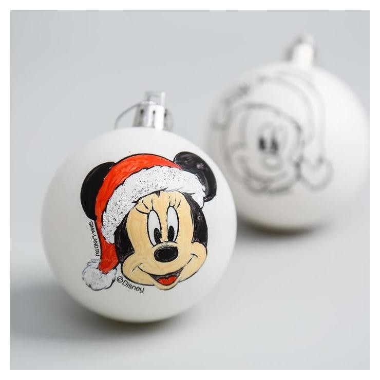 Новогоднее елочное украшение под раскраску микки маус, набор 2 шт, размер шара 5,5 см Disney
