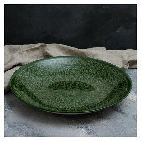 Ляган 41,5 см зеленый  Риштанская керамика