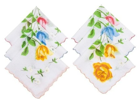 Набор женских носовых платков Etteggy, 30х30 см- 6шт, ситец  Etteggy