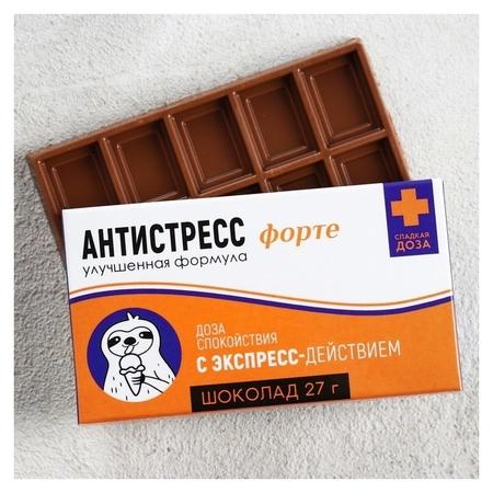 Шоколад молочный «Антистресс форте»: 27 г  Фабрика счастья