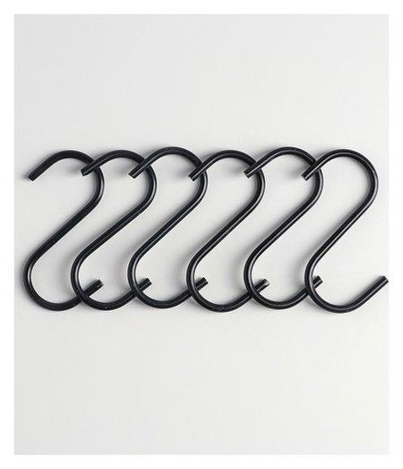 Набор крючков для рейлинга 7 см, 6 шт, цвет чёрный  NNB