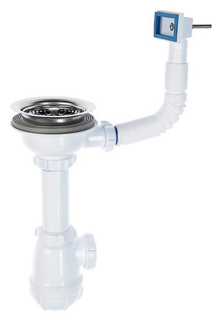 Сифон для мойки Aquant, 3 1/2 х 40 мм, с переливом, белый Aquant
