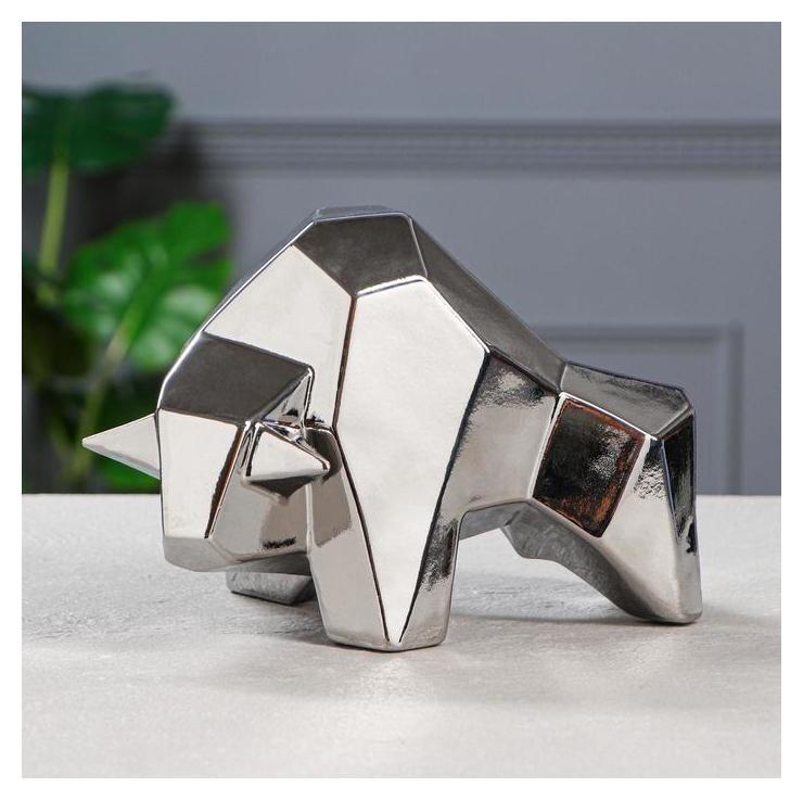 Копилка Бык, символ года 2021, оригами, серебристый цвет, 15 см Керамика ручной работы