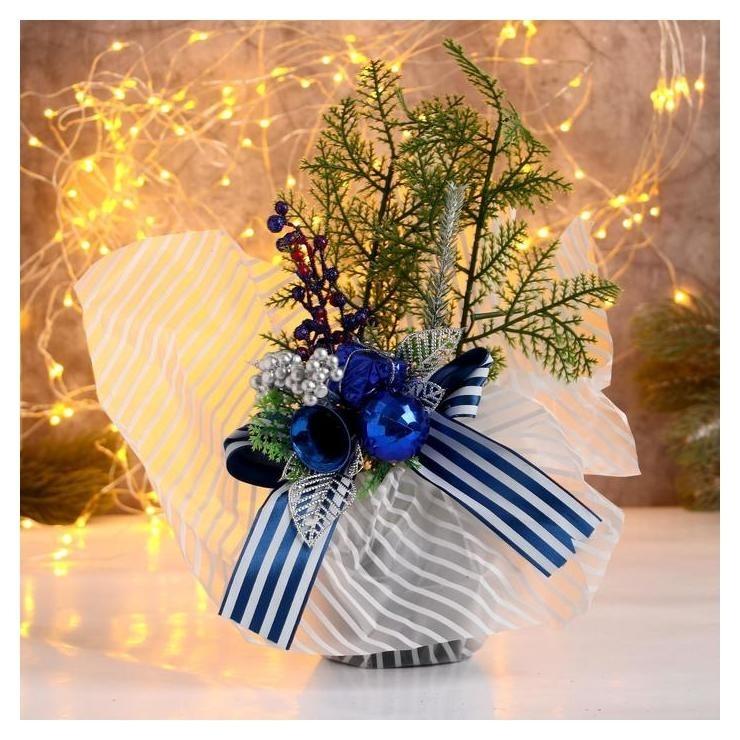 Декор Новогодние причуды яблочки и веточки, 25 см синий Зимнее волшебство