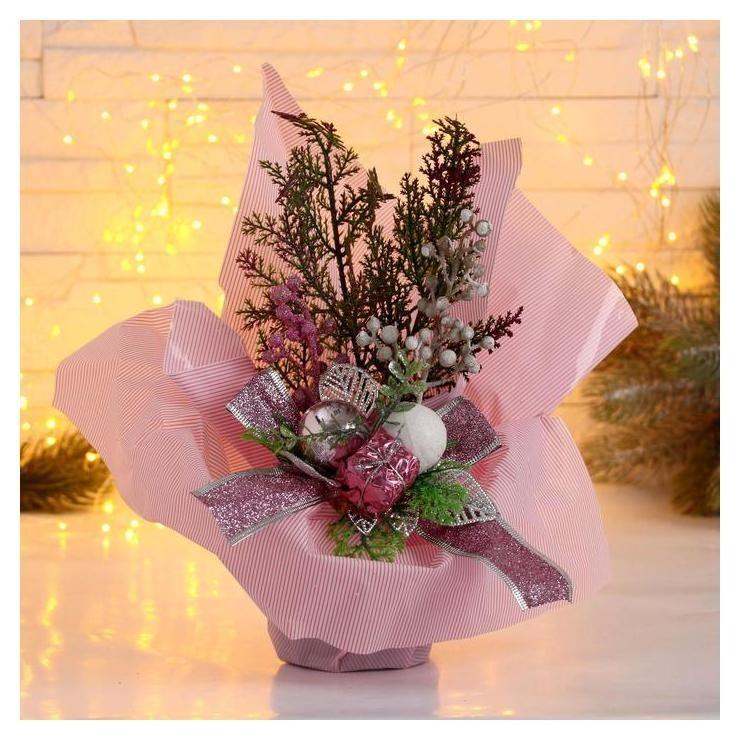 Декор Новогодние причуды подарок и веточки, 25 см розовый Зимнее волшебство
