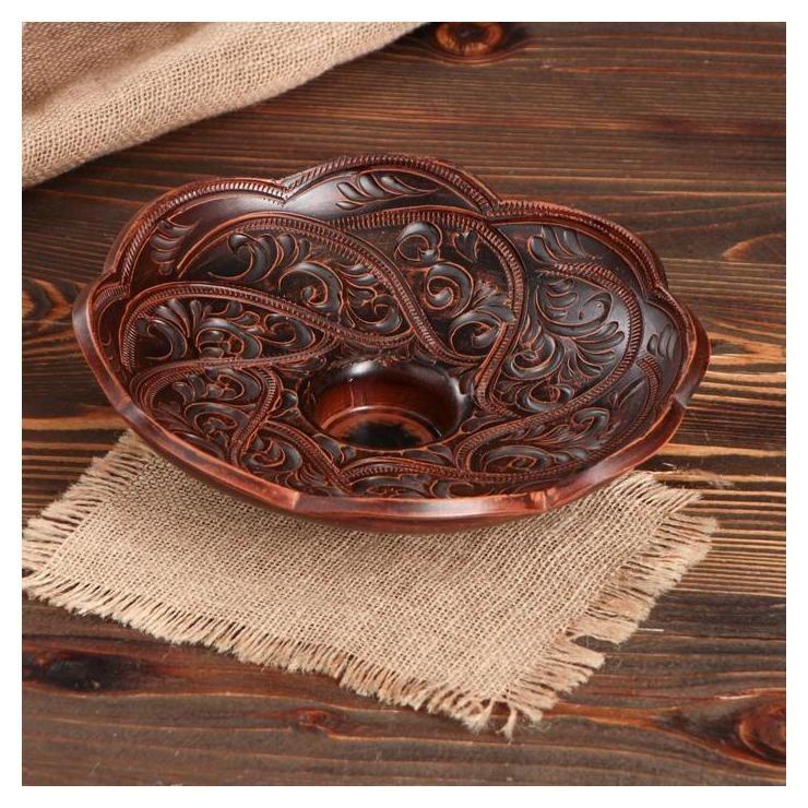 Фруктовница Глинка, декор, D=24 см Красная глина