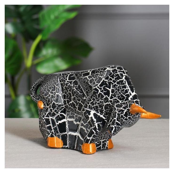 Копилка-оригами Бык, символ года 2021, кракелюр черный, 16,5 см Керамика ручной работы