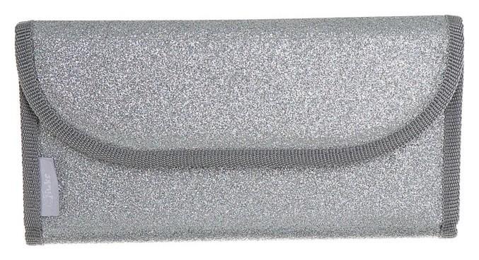 Пенал раскладной на липучке, 115 х 220 мм, плоский, экокожа с блёстками «Серебряное сияние» Оникс
