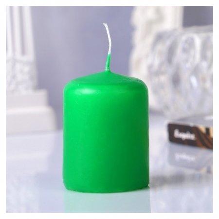 Свеча пеньковая, 4х5см, зелёная  Омский свечной завод