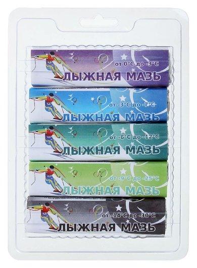 Лыжная мазь, комплект из 5 брусков, (От 0 до -30°c), 200 г  СПРИНТ
