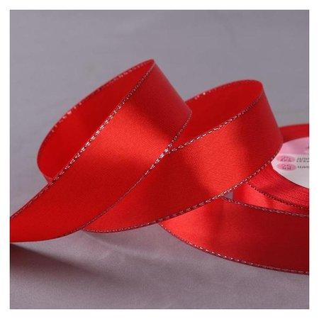 Лента атласная «Серебряные нити», 25 мм × 23 ± 1 м, цвет красный №026  Арт узор