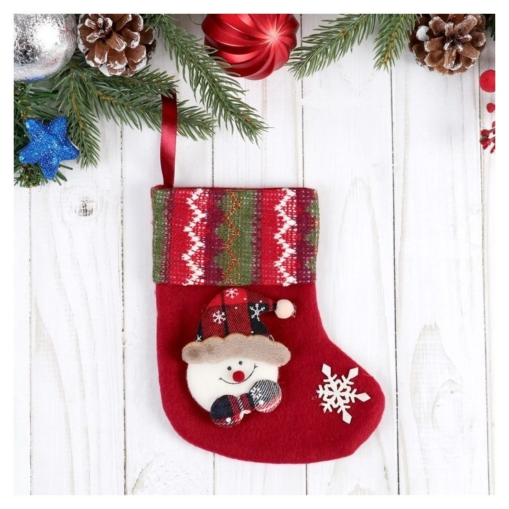 """Носок для подарков """"Праздничный уют"""" 12*15,5 см снеговик  Зимнее волшебство"""