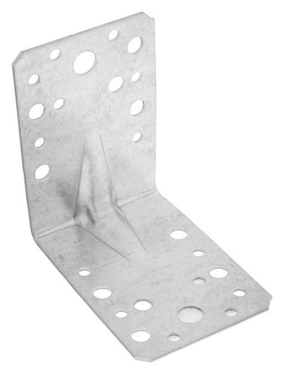 Уголок крепёжный Tundra, усиленный, 90х90х65х2 мм, гоц, в упаковке 1 шт. Tundra