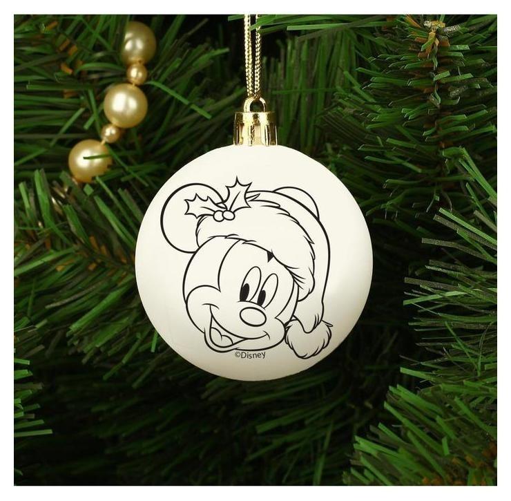 Новогоднее елочное украшение под раскраску микки маус, размер шара 5,5 см  Disney