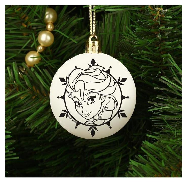"""Новогоднее елочное украшение под раскраску """"Эльза"""" холодное сердце, размер шара 5,5 см  Disney"""