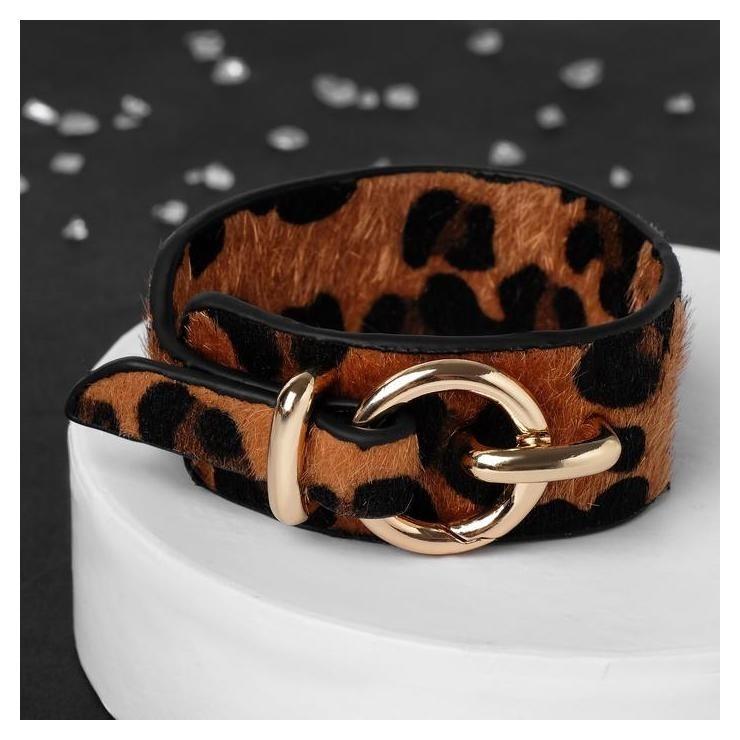 """Браслет кожа """"Сафари"""" леопард, цвет чёрно-коричневый  Queen Fair"""