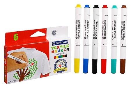 Маркер для ткани Centropen 2739, 1.8 мм, набор 6 цветов  Centropen