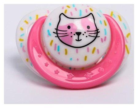 Пустышка от 3 мес., ортодонтическая, Кошечка, цвет розовый Крошка Я