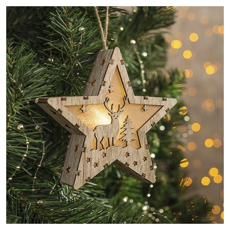 """Фигура деревянная звезда """"Олень и елка"""", 14х13х3 см, бат(В компл.), 1 Led, т/белый  LuazON"""