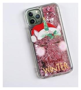 Чехол - шейкер для телефона Iphone 11 Pro «Новогодний единорог», 7,14 х 14,4 см  NNB