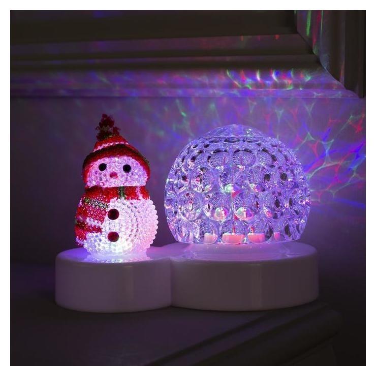 """Световой прибор """"Снеговичок с ледяным прозр. шаром"""", диаметр 9,5 см, мульти  LuazON"""
