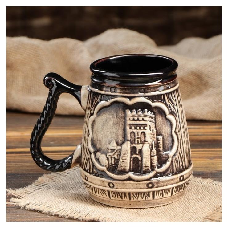 """Пивной бокал """"Замок"""", черный, 0,75 л  Керамика ручной работы"""