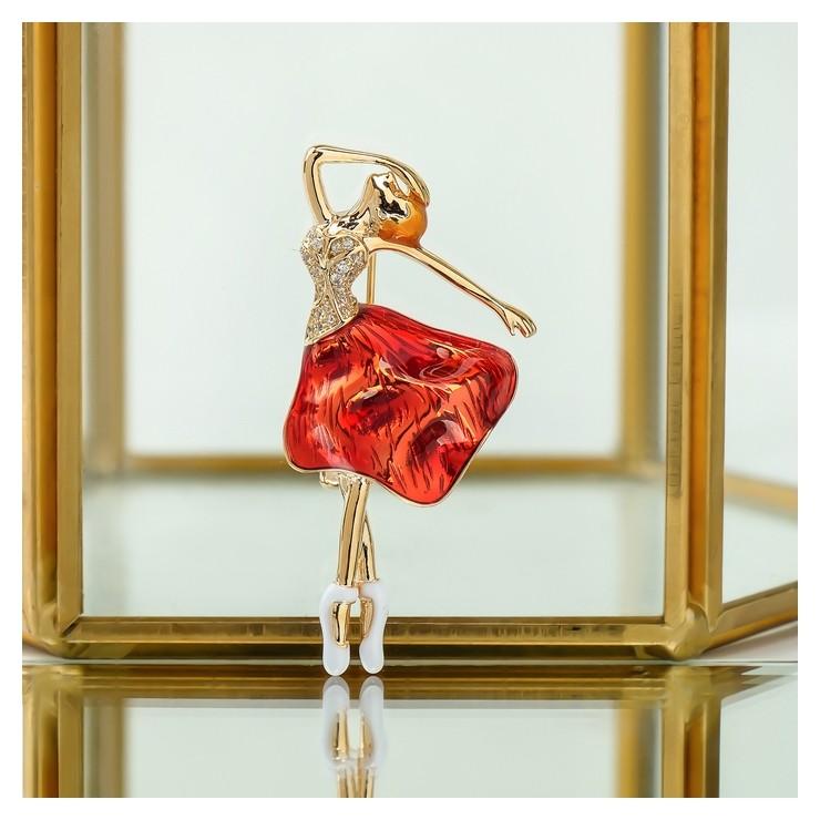 """Брошь """"Балерина"""" в образе, цвет красный в золоте  Queen Fair"""