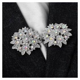 """Зажим для кардигана """"Соцветие"""", цвет радужный в серебре"""