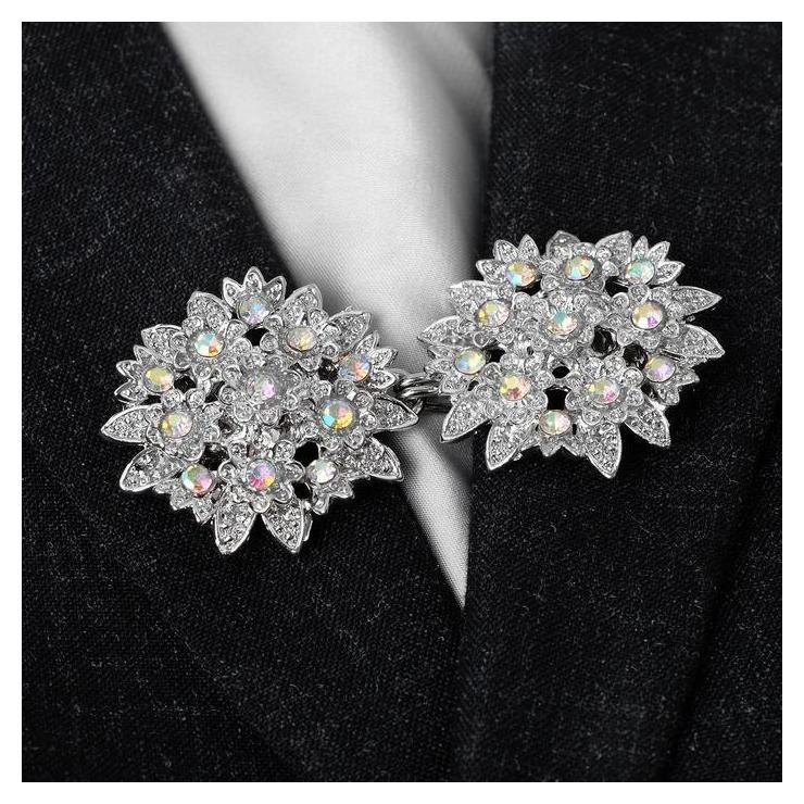 """Зажим для кардигана """"Соцветие"""", цвет радужный в серебре  Queen Fair"""