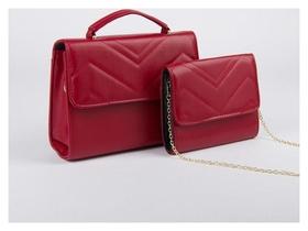 Набор сумок, отдел на клапане, длинный ремень, цепочка, цвет красный  NNB
